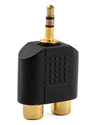 audio 3.5mm mâle audio de 2 x adaptateur RCA femelle