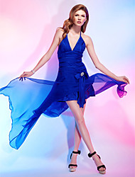 TS Couture Cocktail Party Dress - Open Back A-line Princess Halter V-neck Asymmetrical Chiffon Stretch Satin withBow(s) Sash / Ribbon