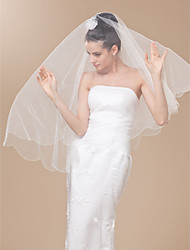 One-tier Tulle Elbow  Veil With Beaded Edge
