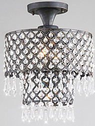 Antique 3 - Light Flush Mount Lights with Crystal Drops