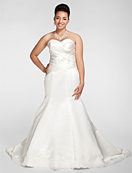 Lanting Bride Trumpet/Mermaid Petite / Plus Sizes Wedding Dress-Chapel Train Sweetheart Satin