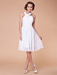 Lanting A-line Plus Sizes / Petite Mother of the Bride Dress - White Knee-length Sleeveless Chiffon