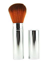 Retractable Cosmetic Face Makeup Brush in Platinum Sliver Tube