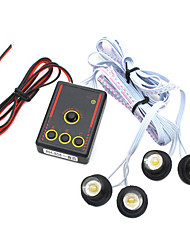 coche / moto blanca de advertencia de emergencia flash de luz LED, 4 led