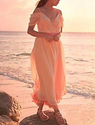 senhora elegante v pescoço cinta vestido longo