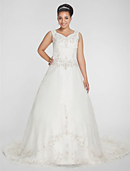 Lanting Bride A-line / Princess Plus Sizes Wedding Dress-Chapel Train V-neck Organza