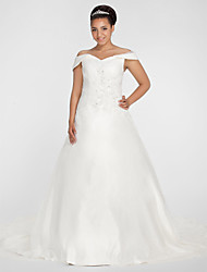 Lanting Ball Gown Off-the-shoulder Chapel Train Organza Plus Size Wedding Dress