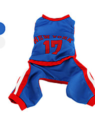Dog Costume Clothes/Jumpsuit Jersey Blue White Dog Clothes Winter Spring/Fall Letter & Number Cosplay Sports
