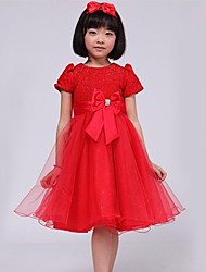 Ball Gown Knee-length Flower Girl Dress - Tulle Jewel with Beading Bow(s)