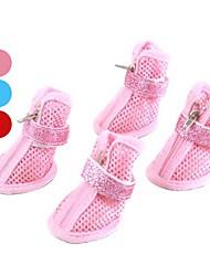 Cães Sapatos e Botas Casual Inverno / Primavera/Outono Cor Única Vermelho / Azul / Rosa Pele PU