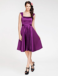 LAN TING BRIDE Knee-length Satin Bridesmaid Dress - A-line / Princess Square / Straps Plus Size / Petite