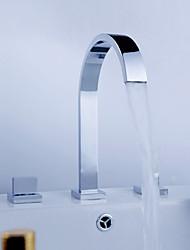 3-Loch-Armatur Zwei Griffe Drei Löcher in Chrom Waschbecken Wasserhahn