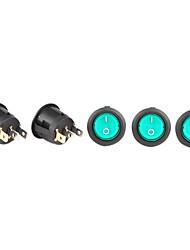 3-pin interruttori basculanti rotonde con indicatore luminoso verde (confezione da 5 pezzi)