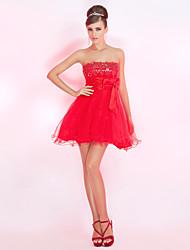 uma linha strapless mini-tule vestido de cocktail curto / / baile