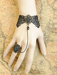 Handmade Black Lace Rococo Style Gothic Lolita Ring Bracelet