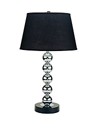 60W Comtemporary Black Fabric Table Light with Beaded Stand
