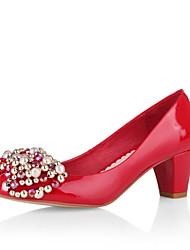 belles pompes en cuir talon de brevets Chunky avec strass partie de soirée / chaussures