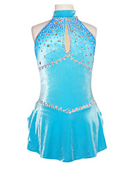 Ice Skating Dress Women's Sleeveless Skating Skirts & Dresses Figure Skating Dress Spandex Blue Skating Wear Performance