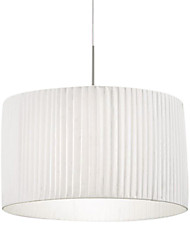 60W Comtemporary Pendant Light with 1 Light in White Fabric Shade