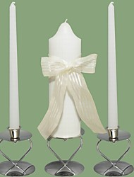 Bow Stripe Wedding Unity Candles Set-White (Candle Holders Not Included)