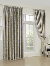 Rococo Two Panels Floral Botanical Beige Grey Purple Bedroom Curtains Drapes