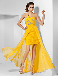 Sheath/Column One Shoulder Sweetheart Floor-length Split Front Chiffon Evening/Prom Dress