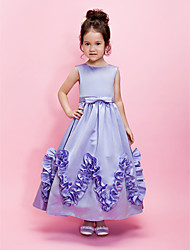 Lanting Bride A-line / Ball Gown Ankle-length Flower Girl Dress - Satin Sleeveless Jewel with Bow(s) / Ruffles / Sash / Ribbon