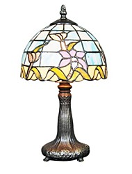 60W Tiffany Glass Table Light with Lotus Pattern