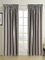 (Two Panels Rod Pocket) Noble Grey Solid Stripe Room Darkening Curtain