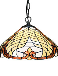 60W Tiffany Pendent Light with 1 Light in Glass Shade