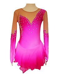 Imported Velvet Fabric Crystal Long Sleeve Ice Skating Dress