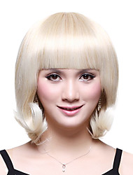 Capless Short Top Grade Synthetic Japanese Kanekalon Cute Curly Wig Full Bang