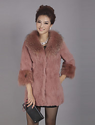 3/4 Raccoon Fur Sleeve Raccoon Fur Collar Evening Rabbit Fur Coat(More Colors)