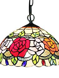60W 1 - Light Tiffany Glass Pendent Light in Flower Design