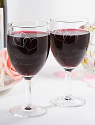 Personalized Red Wine Cup with Two Hearts Design- Set Of 2