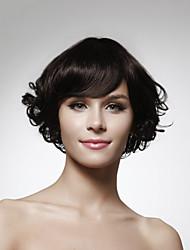 longitud sin tapa la barbilla al 100% la naturaleza del pelo humano mira peluca pelo rizado 5 colores a elegir