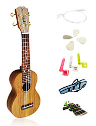Yadars - (YS-AC12) High-Grade Solid Koa Soprano Ukulele with Gig Bag/String/Picks/Capo
