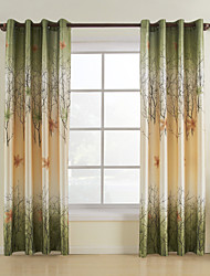 (One Panel Grommet Top) Green Maple Leaf Energy Saving Curtain