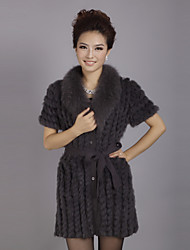 Short Sleeve Turndown Collar Evening Rabbit Fur Coat (More Colors)