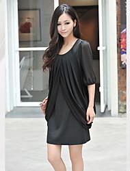 Large Round Neck Chiffon Sleeve Dress