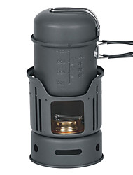 7pcs 1-2 personas Cabañas Cookset (Pot 0,9 L, Tazón 450L, Windshiel, soporte, Cocina de Alcohol)