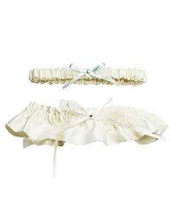 Lovely 2-Piece Polyester/Satin With Rhinestone/Bowknot Wedding Garters