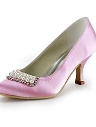 calcanhar de cetim baixo fechado pés com sapatos de imitação de pérolas mulheres casamento partido
