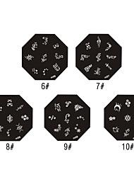 Aqua-plant And Goldfish Pattern Nail Art Stamping Image Template Plate