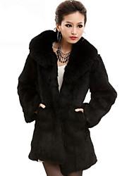 Fashion Langarm Hochzeit / Office Rabbit Fur Coat