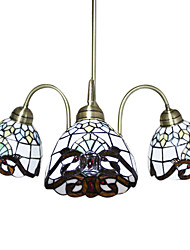 Tiffany Chandeliers with 3 Lights in Glass Shades
