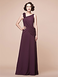 Lanting Bride® A-line Plus Size / Petite Mother of the Bride Dress Floor-length Sleeveless Chiffon with Ruffles / Side Draping