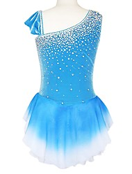 Robe de Patinage Femme Sans manche Patinage Jupes & Robes Robe de patinage artistique Spandex Bleu Tenue de Patinage UtilisationMode /