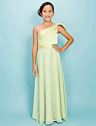 Lanting Bride Floor-length Chiffon / Stretch Satin Junior Bridesmaid Dress A-line / Sheath / Column One Shoulder Natural withBow(s) /