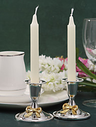 Wedding Décor Gorgeous Silver Plated Candle Holder With Bow (Set of 2)